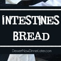 Intestines Bread is a fun halloween party food that makes you look twice. All it really is, is a sweet pull apart bread with cream cheese and raspberries.