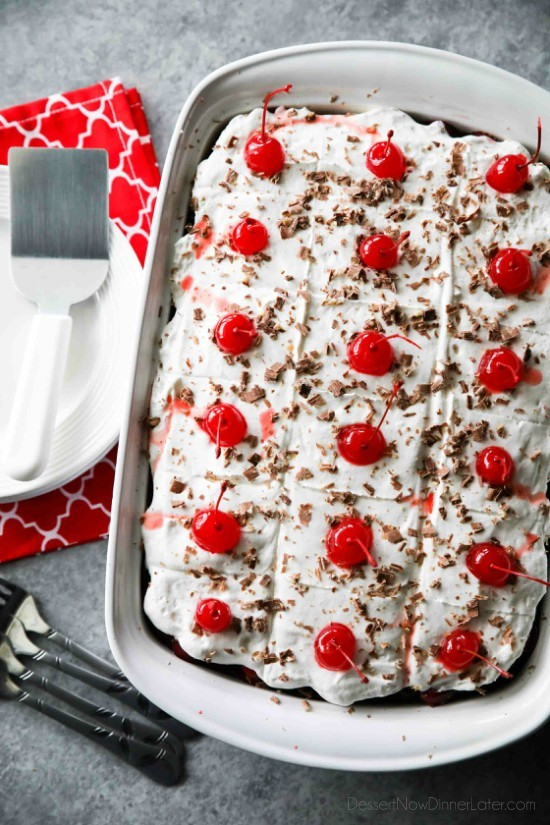 Black Forest Poke Cake is a classic recipe made easy. Plus it serves a crowd! Everyone loves the delicious chocolate-cherry combo in this loaded dessert.