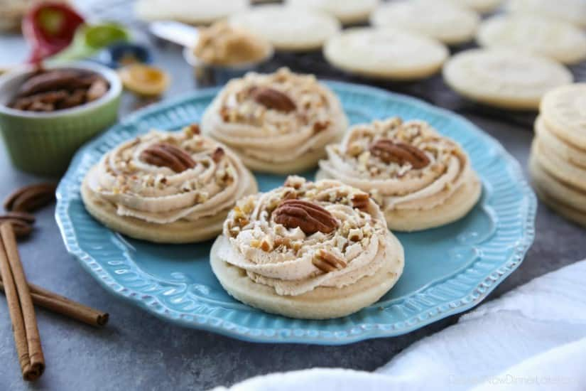 Brown Sugar Pecan Sugar Cookies are made with a classic sugar cookie base and topped with a brown sugar frosting and crunchy toasted pecans.