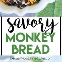 Savory Monkey Bread makes a great appetizer to share. Eat it as-is, or dip it in oil and vinegar. It's a delicious savory side to your dinner!