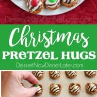 These festive Christmas Pretzel Hugs are melted just enough to press an M&M on the top. Let the chocolate set back up and then package them for neighbor gifts, or place them on a plate for the perfect salty-sweet treat!