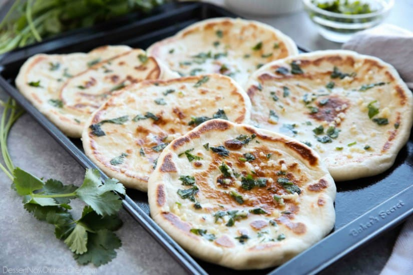 Easy garlic naan dessert now dinner later this buttery garlic naan flatbread is made easy with store bought frozen dough enjoy forumfinder Gallery