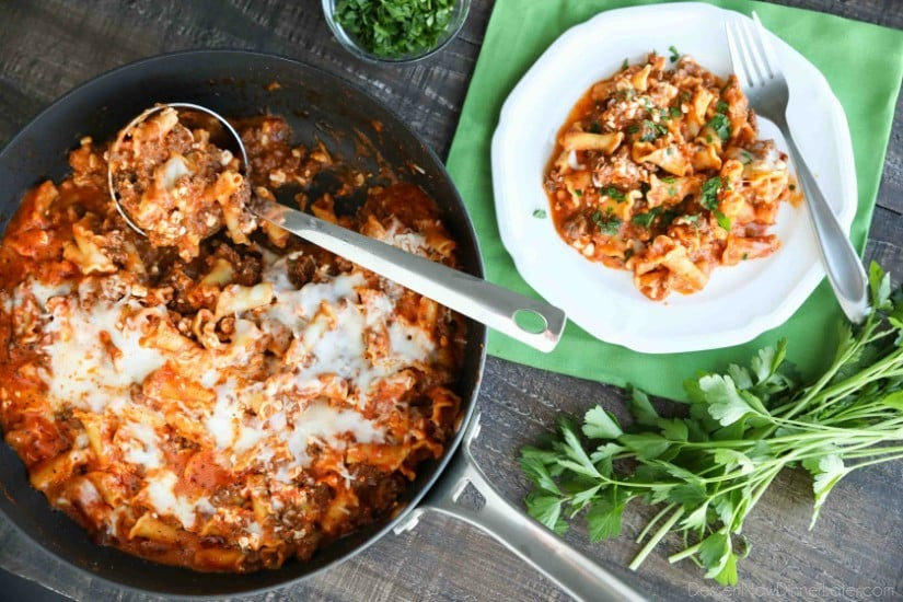 This Easy Skillet Lasagna is quick, tasty, and ready in 30 minutes! A family-friendly dinner you can make any night of the week. (+ Recipe Video!)