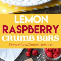 Lemon Raspberry Crumb Bars have a creamy and tangy-sweet filling sandwiched between a brown sugar and oat crust that doubles as the crumb topping. These dessert bars are to die for!