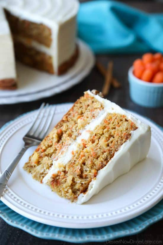This easy carrot cake recipe is moist, perfectly-spiced, and topped with the BEST cream cheese frosting. Customize it with your favorite fillers or enjoy it simply as-is.