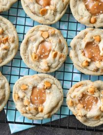 Salted Caramel Cookies are soft, chewy, and full of caramel, with just the right amount of salt. This sweet and salty dessert is one recipe you'll make again and again!