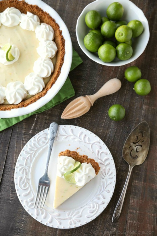 This classic Key Lime Pie recipe is smooth and creamy, tart yet sweet, and super easy to make! Top it with freshly sweetened whipped cream for the perfect bite!