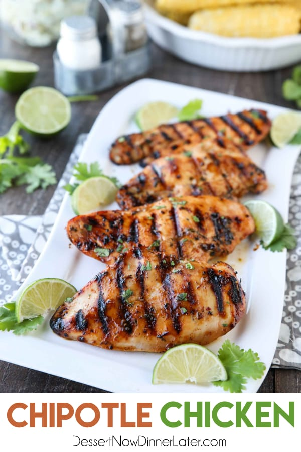 This Chipotle Chicken is marinated in a bold, sweet and spicy mixture with tasty herbs and spices, creating juicy, flavorful grilled chicken. Our absolute favorite chicken marinade!