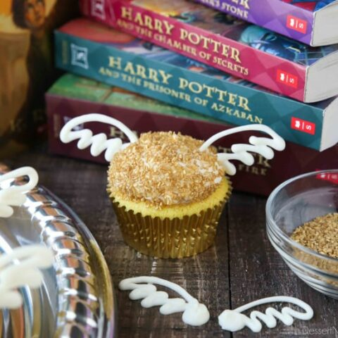 You don't need to be a professional cake decorator to make these super easy Golden Snitch Cupcakes for your Harry Potter Birthday Party! (+More Harry Potter Party Ideas!)