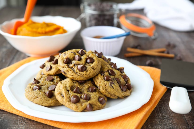 These soft-baked Pumpkin Chocolate Chip Cookies are a little chewy, a little cakey, and full of pumpkin spices and creamy chocolate chips. An easy and delicious fall treat!