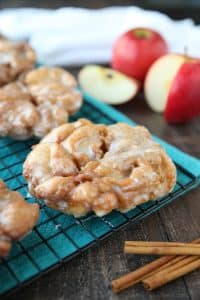 Apple Fritters - an easy and delicious yeast doughnut with chunks of apples, ground cinnamon, and a sweet glaze.