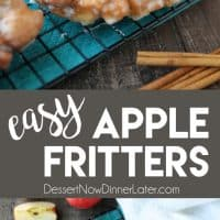 Apple Fritters - an easy and delicious yeast doughnut with chunks of apples, ground cinnamon, and a sweet glaze. #frozendough