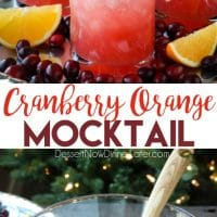 This non-alcoholic Cranberry Orange Mocktail is an easy and refreshing fruit punch drink for the holidays. It's fizzy, fruity, and only 3 ingredients!