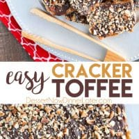 Cracker Toffee (aka Christmas Crack) is so easy to make and highly addictive! Saltine crackers are coated in a quick toffee layer and topped withchocolate and nuts.