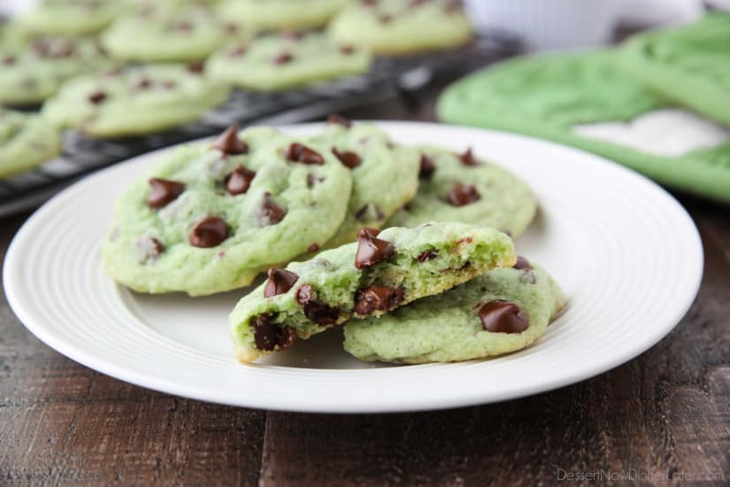 Mint Chocolate Chip Cookies are soft, chewy, and chocolatey, with just the right amount of mint! Makes a great Christmas cookie and is perfectly green for St. Patrick's Day!
