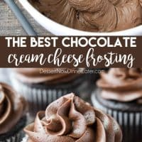 This is the BEST Chocolate Cream Cheese Frosting! Silky smooth and creamy, yet thick and sturdy enough for piping on cakes or cupcakes. It's super easy to make and not too sweet.