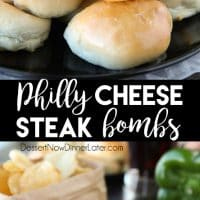 Philly Cheesesteak Bombs are easy to make with pre-made dough that's stuffed with meat, veggies, and two kinds of cheese! A tasty game day appetizer, or hot pocket sandwich for dinner!