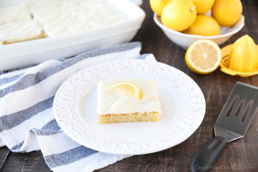 These Blonde Lemon Brownies are wonderfully tangy, sweet, and moist dessert bars. They have a dense texture like a fudgy brownie, and are topped with a creamy lemon icing for the ultimate lemon dessert.