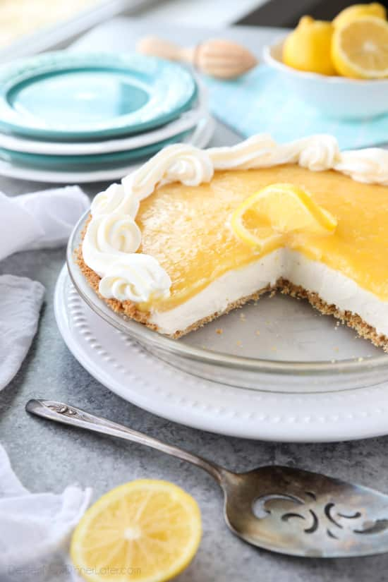 Lemon Cream Cheese Pie has layers of no-bake cheesecake and an easy microwave lemon curd inside of a vanilla wafer crust. It's the perfect combination of sweet and tart. A great dessert for spring, Easter, or summer!
