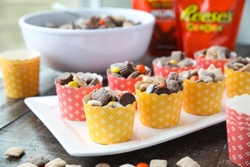 Reese's Muddy Buddies are a twist on the classic with both chocolate and peanut butter coated cereal pieces tossed together with Reese's Pieces and Reese's Minis. This is the ultimate peanut butter and chocolate puppy chow snack mix.