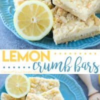 Lemon Crumb Bars have a lightly sweet and buttery cookie base that doubles as the crumb topping, and an easy creamy lemon filling in the center. A delicious bar dessert that is a great substitute for pie.