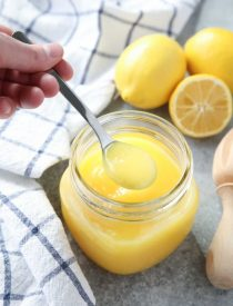 This fast and easy Microwave Lemon Curd is thick and creamy, and cooked in only 5 minutes or less. Use it in pies, tarts, cream puffs, cakes, and more!