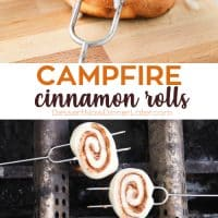 Campfire Cinnamon Rolls are cooked on a stick over a fire or grill. As easy as a can of biscuits, but with real yeast dough instead! The best cinnamon rolls you will ever have while camping!