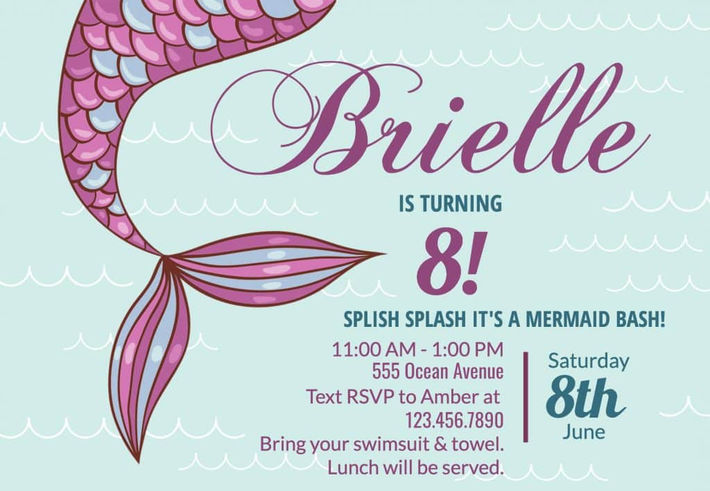 Free Customizable Mermaid Birthday Invitations
