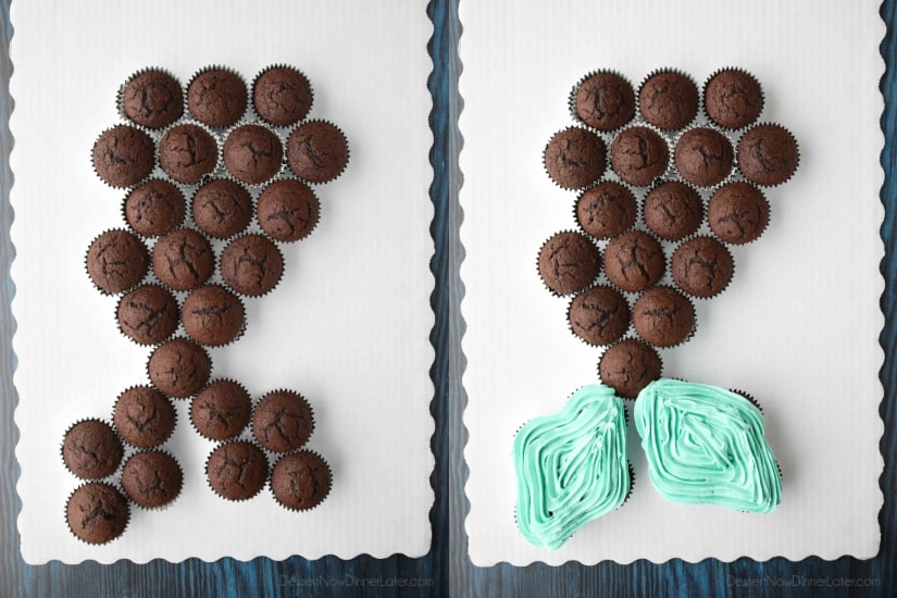 Mermaid Tail Pull Apart Cupcake Cake Template - 24 cupcakes (1 box cake mix)