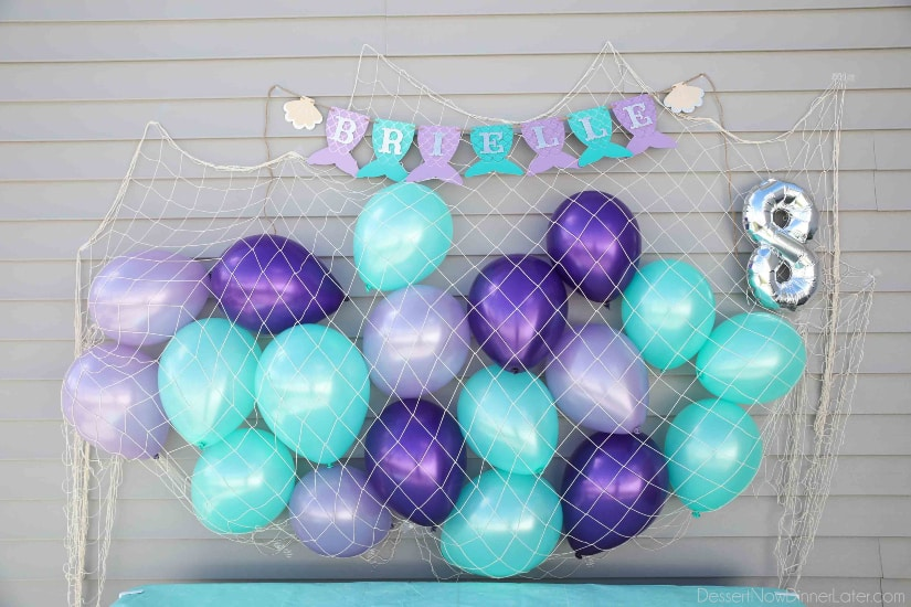 Mermaid Party Decorations - Fish Net, Balloons, Banner