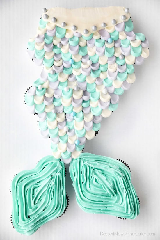 Mermaid Tail Cupcake Cake - full decorating tutorial with template and other mermaid birthday party ideas.