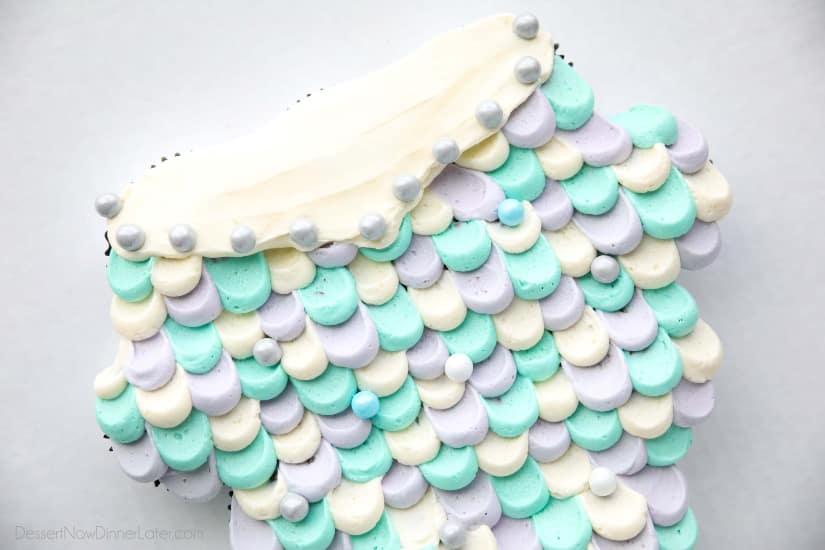 Upper Mermaid Tail Scales and edible chocolate pearls.