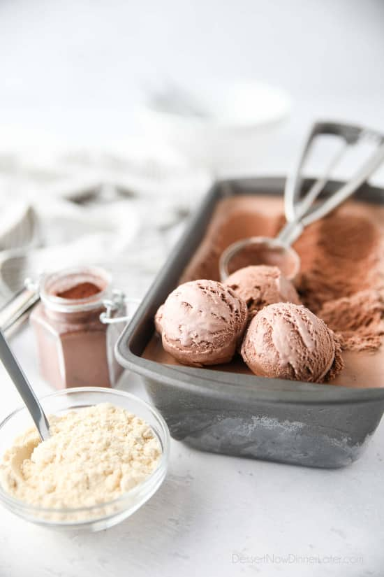 Chocolate Malt Ice Cream turns your favorite milkshake into a summer dessert you can enjoy by the scoop! This no-cook, egg free, easy homemade chocolate ice cream is combined with malted milk powder for that good old-fashioned taste.