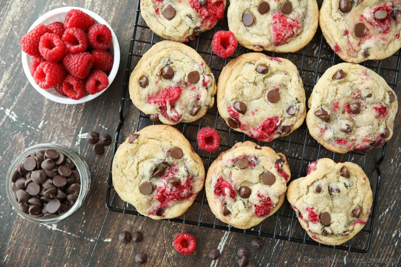 Raspberry Chocolate Chip Cookies takes your favorite chewy chocolate chip cookies to the next level with the addition of sweet and tangy fresh raspberries.