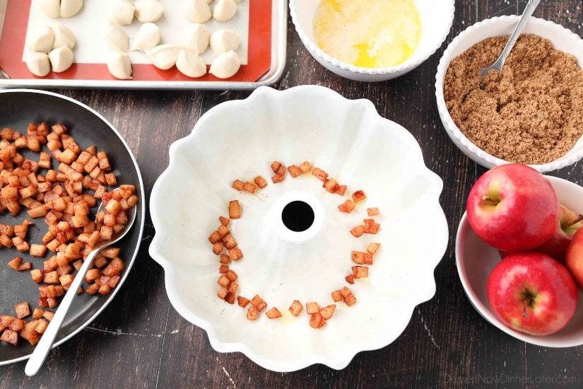 Apple Fritter Monkey Bread - Use a bundt pan and start with a layer of caramelized apple pieces.