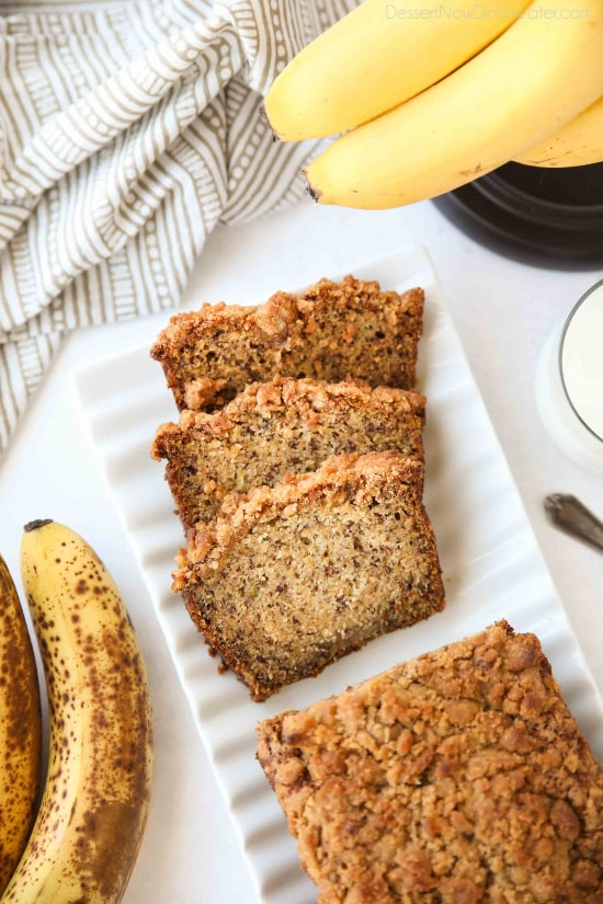Coffee Cake Banana Bread combines classic banana bread with the amazing cinnamon streusel of coffee cake. This delicious quick bread is perfect for breakfast, brunch, or dessert.