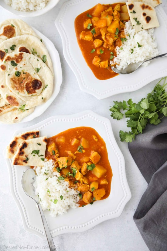 Instant Pot Indian Butter Chicken is quick, easy, creamy and flavorful. Chunks of chicken and potatoes are smothered in a mild tomato and coconut milk sauce that's filled with fragrant Indian spices. Serve it with some garlic naan for a restaurant quality dinner at home.