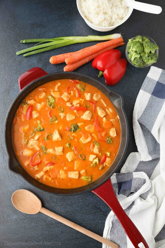 This Thai Red Curry with chicken and vegetables is easy, flavorful, and dinner ready in 30 minutes or less. It's healthier than takeout, and easy to make spicy or mild.