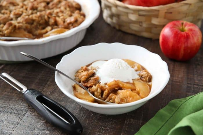 This is the best Apple Crisp recipe! It's full of fresh sliced apples, creates a fruity cinnamon-sugar sauce while it bakes (like apple pie filling), and is topped with a crunchy crumb topping. An easy, old fashioned fall dessert.