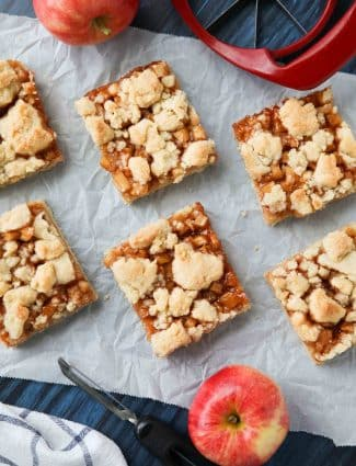 Apple Crumb Bars are better than pie with a buttery shortbread crust and crumble topping, and a fresh homemade apple pie filling in the center.