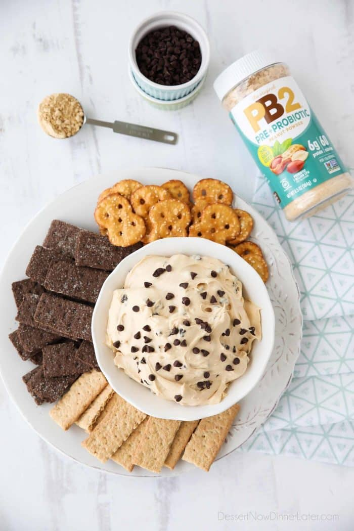 This Buckeye Dip has the added benefits of a pre + probiotic with PB2 and tastes like an indulgent treat.
