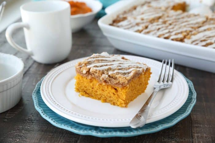 Pumpkin Spice Coffee Cake is easy to make and full of real pumpkin and fragrant spices. It's moist, yet light and fluffy, with a cinnamon crumb topping and pumpkin spice icing drizzle on top.