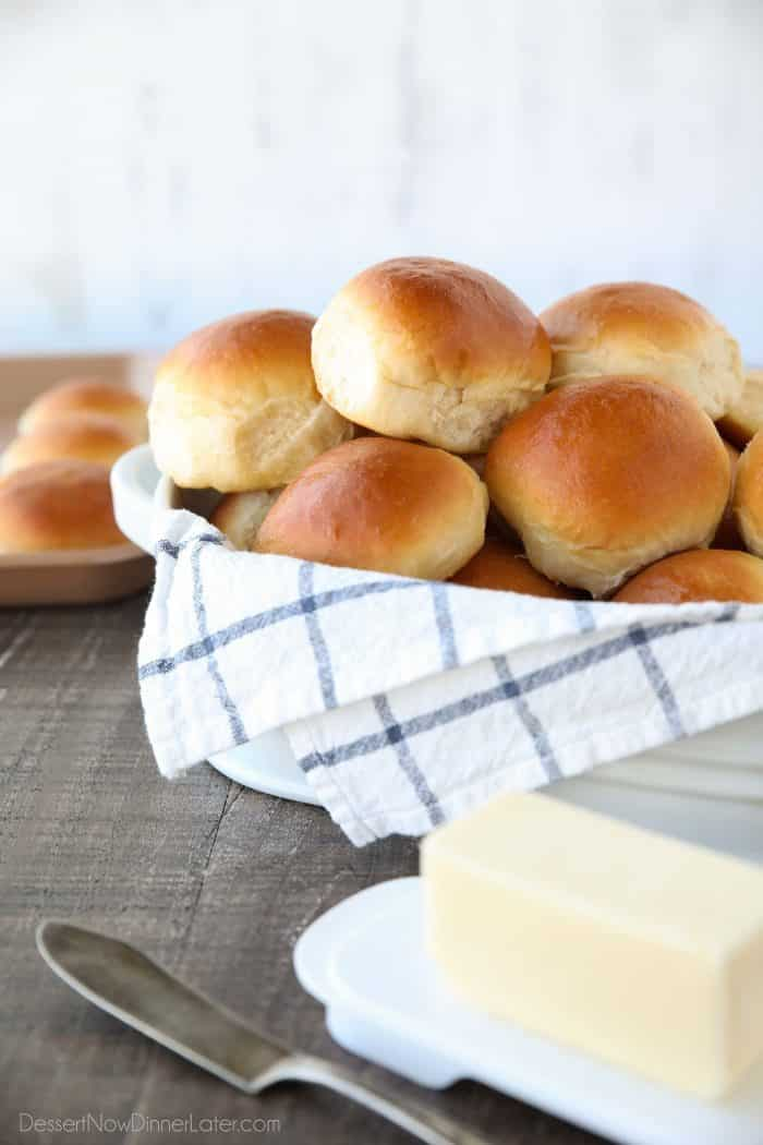 This classic homemade dinner rolls recipe is soft, fluffy, light, and buttery. The perfect bread for any meal or holiday feast.