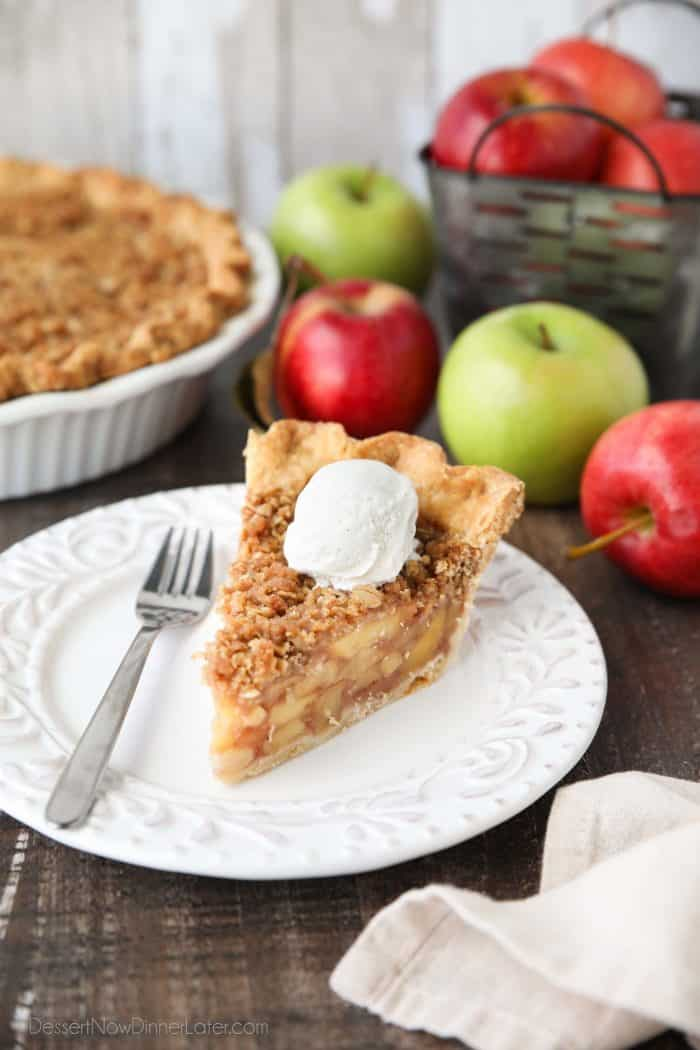 Dutch Apple Pie is made in a traditional pie crust, that's loaded with fresh cinnamon glazed apples, and topped with a sweet, buttery crumb streusel. It's like a combination of classic apple pie and apple crisp. A delicious holiday dessert.