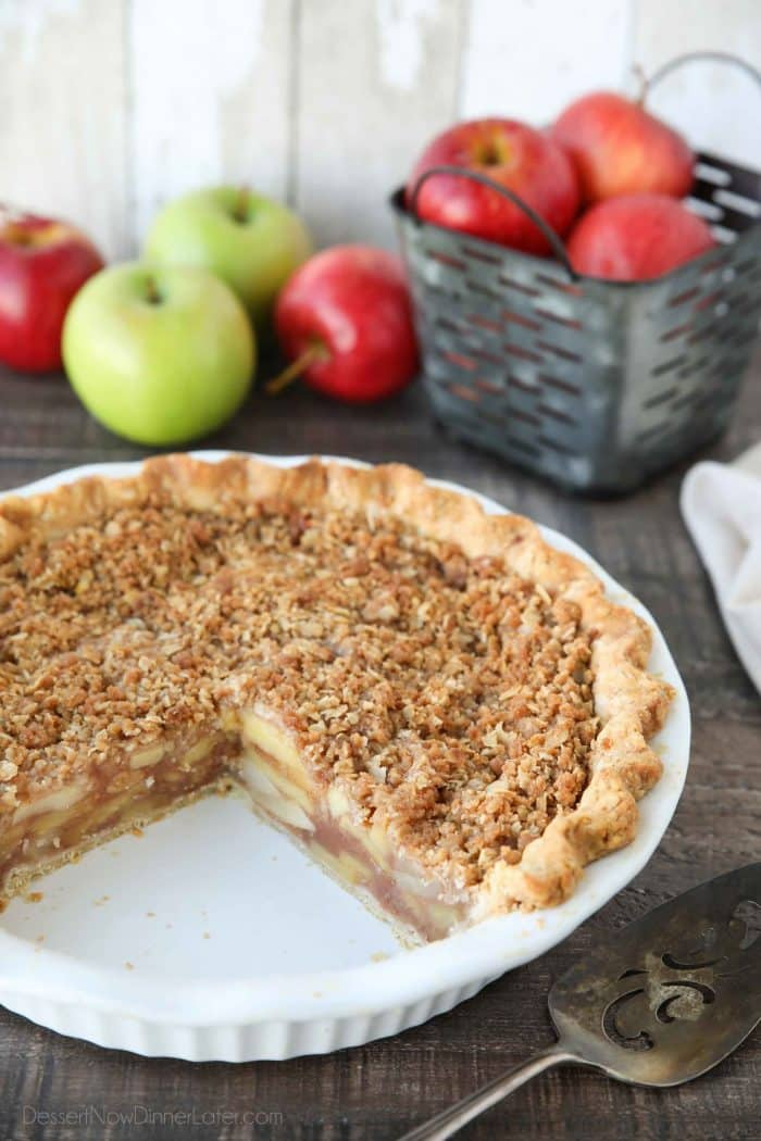 Dutch Apple Pie is made in a traditional pie crust, that's loaded with fresh cinnamon glazed apples, and topped with a sweet, buttery crumb streusel.