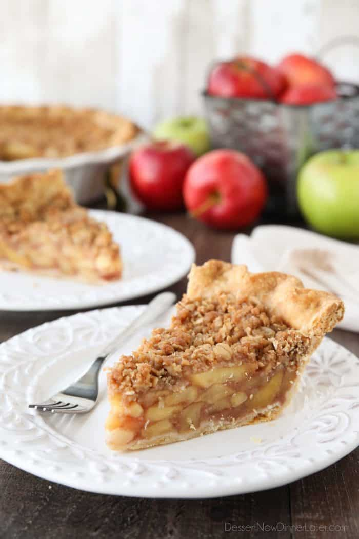 Classic Apple Pie meets Apple Crisp in this holiday dessert. Dutch Apple Pie is made in a traditional pie crust, that's loaded with fresh cinnamon glazed apples, and topped with a sweet, buttery crumb streusel.