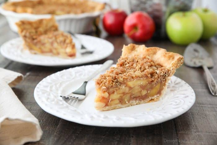 Dutch Apple Pie is made in a traditional pie crust, that's loaded with fresh cinnamon glazed apples, and topped with a sweet, buttery crumb streusel. It's like a combination of classic apple pie and apple crisp.
