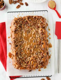 These easy caramel pecan rolls are so sticky, gooey, and delicious. They're made with frozen cinnamon rolls so half the work is done for you! Perfect for holidays or weekends.