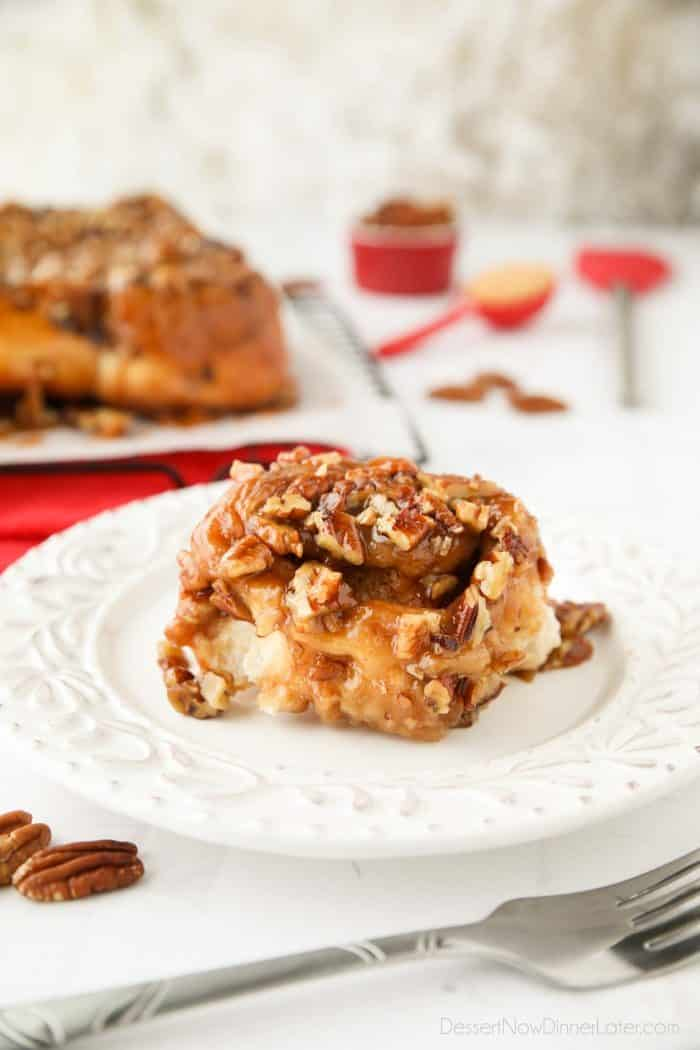 These easy caramel pecan rolls are so sticky, gooey, and delicious. They're semi-homemade using frozen cinnamon rolls and a quick homemade caramel.