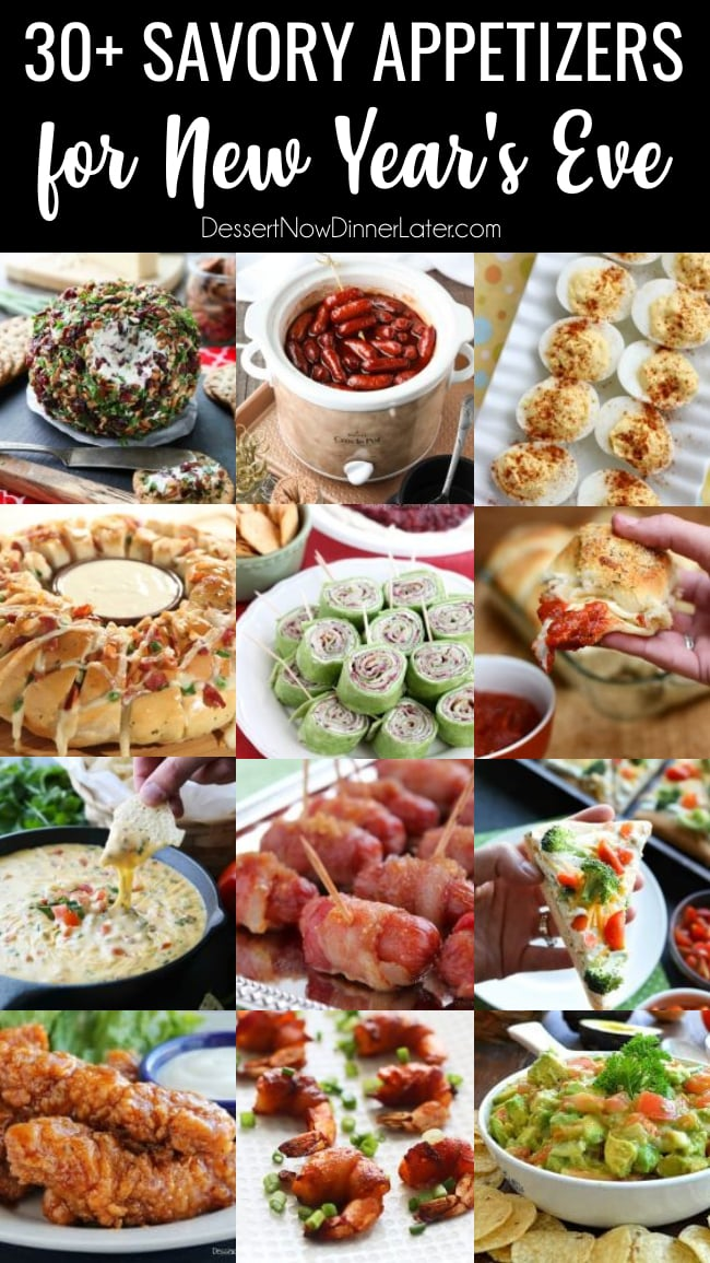 30+ Savory Appetizers for New Year's Eve - from chips and dip, to shrimp, roll-ups, or cheesy snacks, you will find something deliciously savory to bring to your New Year's Eve Party!